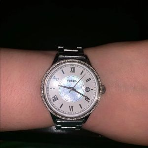 Silver Mother of Pearl Fossil Watch